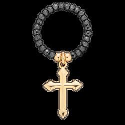 Pierścionek elastyczny z krzyżykiem gotyckim Szary Hematyt