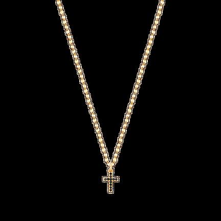 Naszyjnik New Charm Black Cross Gold