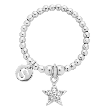 Pierścionek elastyczny Enchanted Star Silver